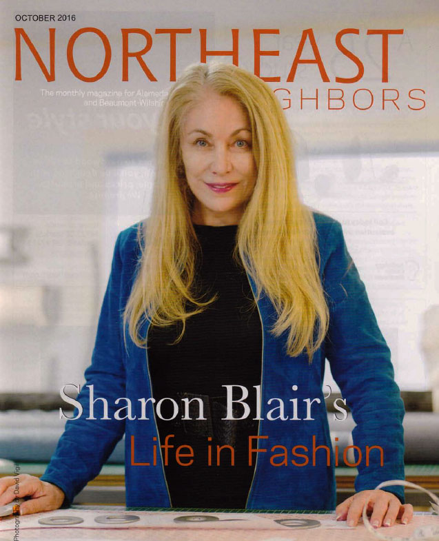 fashion designer sharon blair on the cover of northeast neighbors magazine
