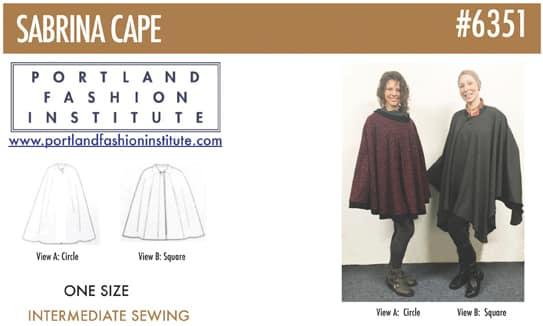 FREE PATTERN! Sabrina Cape (PFI pattern #6351) – Portland Fashion ...