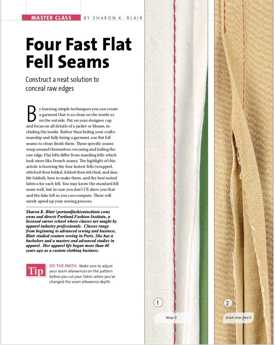 4 fast flat fell seams + a fake one!  Hide your raw edges in a sporty way.